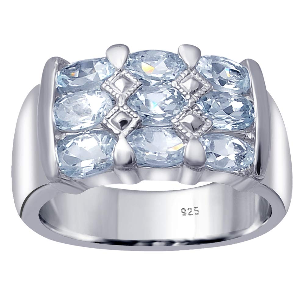 Orchid Jewelry 925 Sterling Silver Blue Topaz Cocktail Unisex Ring, (Size 8) by Orchid Jewelry (Image #1)