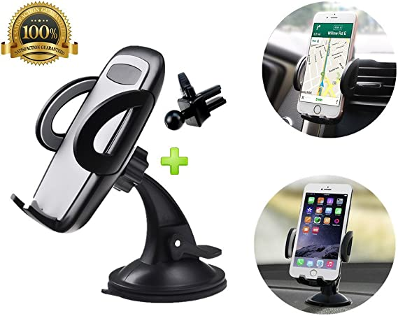 2-in-1 Universal Car Air Vent Mount Holder Cradle with Quick Release Button for iphone 7 7 Plus 6S 6 Plus 5S,Samsung Galaxy S6 S5,LG and More Smartphones