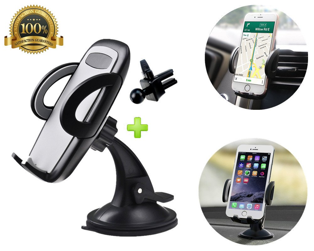 AlphaBeing Car Phone Mount, 2-in-1 Universal Phone Holder Cell Phone Car Air Vent Holder Dashboard Mount for iPhone X 8 7 Plus,7,6S,6,Samsung Galaxy Note S8 S7 S6 and More