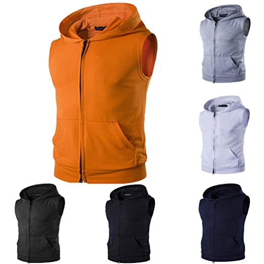f19cdb647da83 vermers Hot Sale Men s Casual Tank Tops Fashion Ripped Hole Waistcoat Solid  Zipper Vest T Shirt