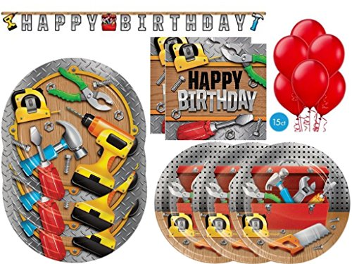 Handyman Construction Tools (Handy Manny) Happy Birthday Deluxe Party Kit for 24 Guests (82 Pcs)