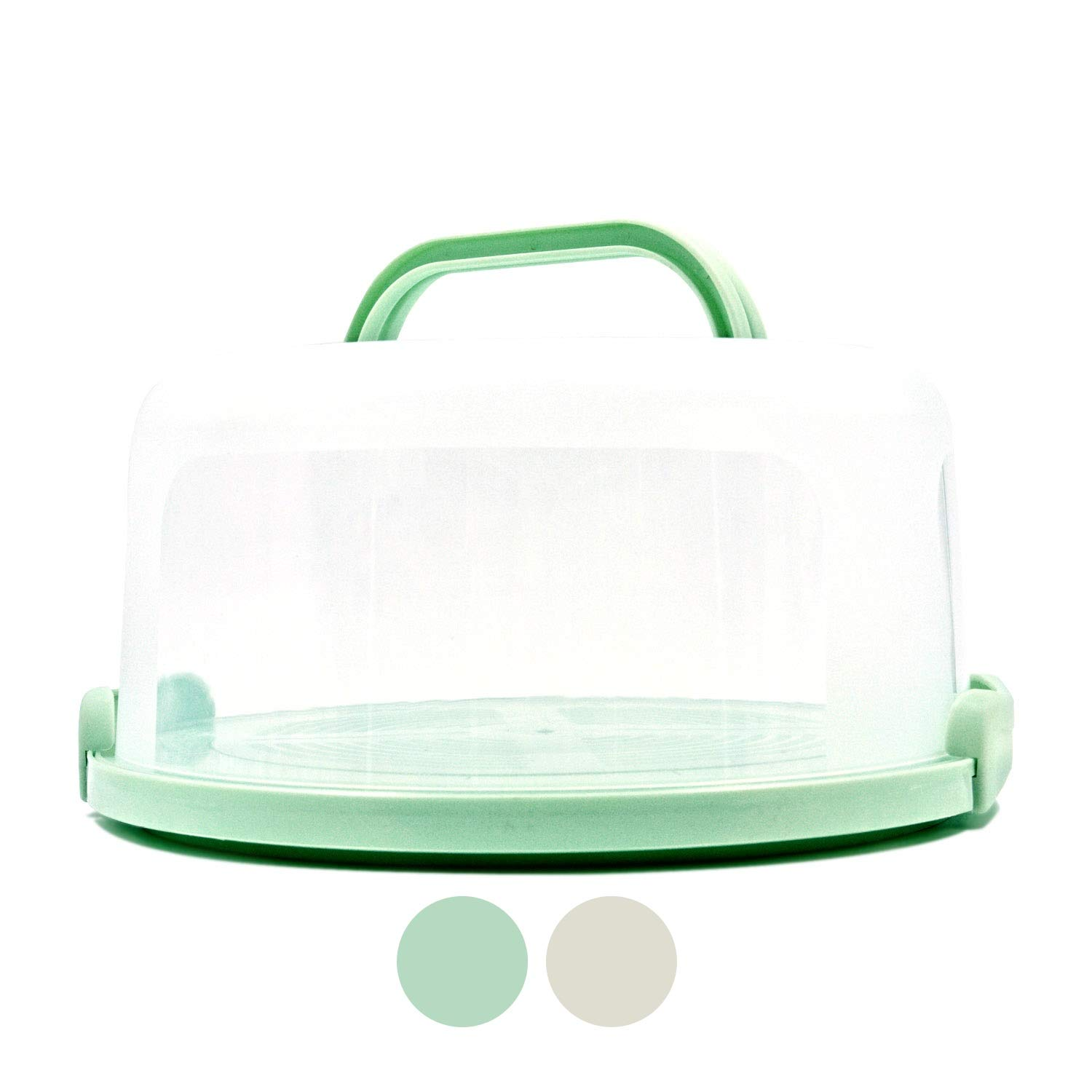 Top Shelf Elements Cake Carrier For Up To 10 inch x 4 1/2 inch Cake. Two Sided Fashionable Sea-Foam Green Stand Doubles as Five Section Serving Tray