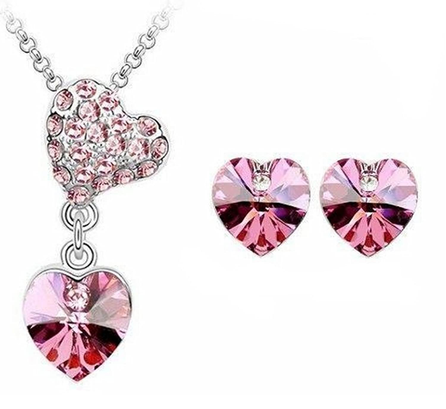 18ct Gold Plated Crystal Jewelry Set embellished with Crystals from Swarovski! Pink Heart Drop Dangle Necklace & Earring Set. FREE Chain!
