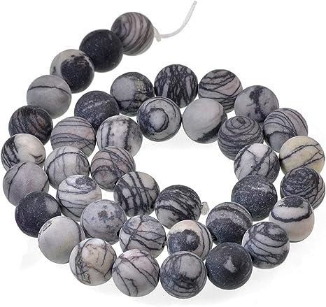"8mm Natural Black Lava Matte Round Beads 15"" Strand Oz Seller"