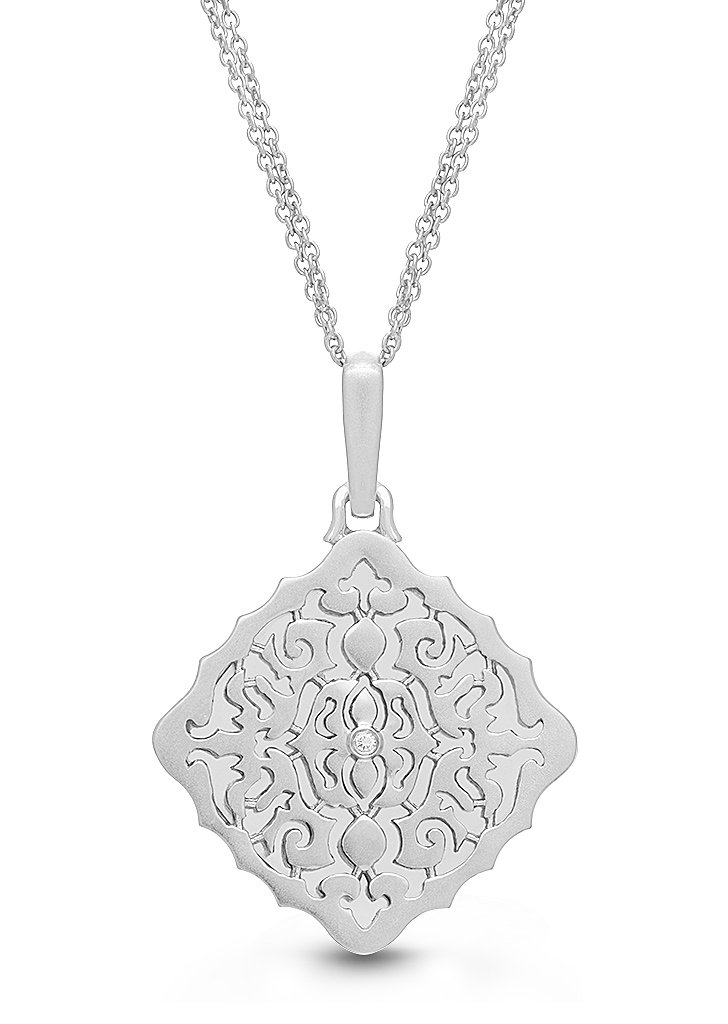 Sterling Silver-Diamond-Square-Custom Photo Locket Necklace-34-inch chain-The Mimi by With You Lockets