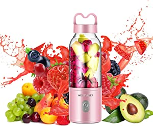 Portable Blender, Personal Juicer Blender for Shakes, Smoothie Mixer Juice Cup Portable Travel Sports Bottle with Detachable Bottom, USB Rechargeable - Sakura Pink