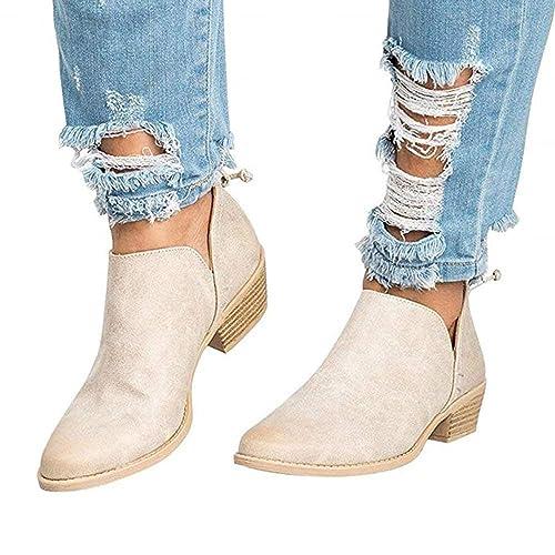 Moda para Mujer Botines de tacón Cuadrado Sólido Cuero Martin Zapatilla Zapatos Botas Cortas Fiesta Exterior Sandalias Simples: Amazon.es: Zapatos y ...