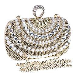 Women's Rhinestone Studded Imitation Pearl Clutch
