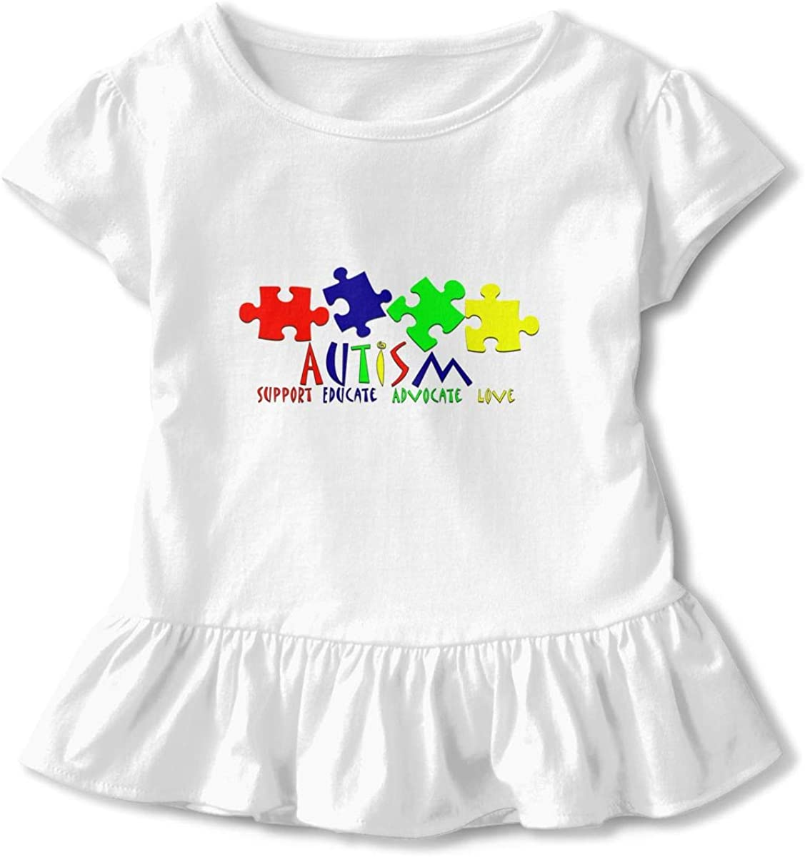 Autism Love Toddler//Infant Girls Short Sleeve Ruffles Shirt T-Shirt for 2-6T