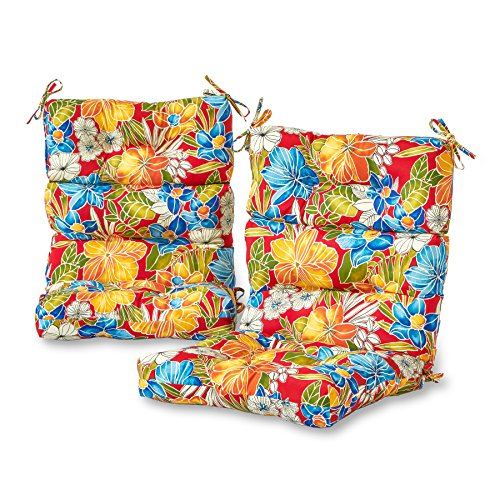 Tropical Outdoor Furniture - Greendale Home Fashions Outdoor High Back Chair Cushion (set of 2), Aloha Red