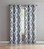 VCNY Home Alton Printed Damask Curtains (Set Of 2), 76x96, Blue (38x96 Each)