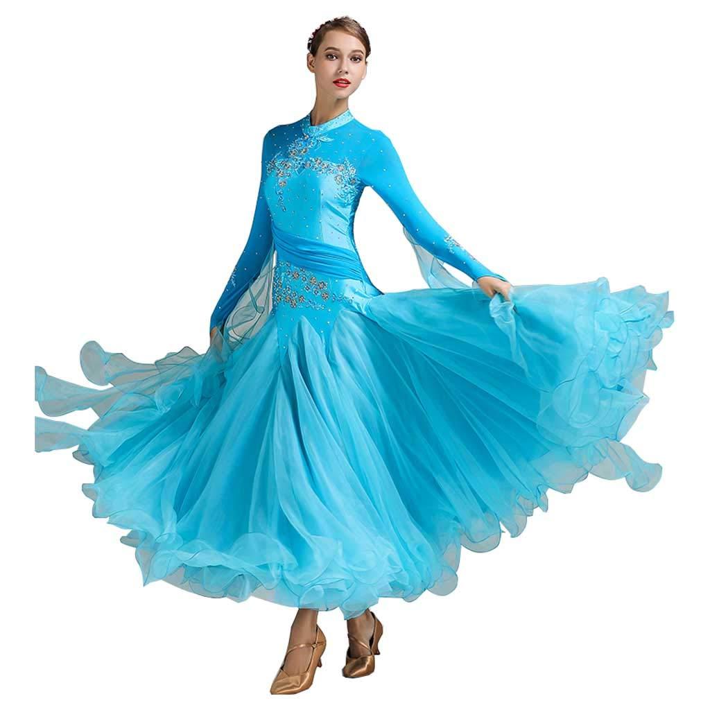現代ダンススカート、大広間ダンスドレス大人の衣装 B07HK7GTP3 S s|Lake Blue Lake Blue S s