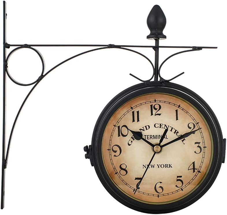 Reloj De Pared De Doble Cara Reloj De Pie Retro Reloj De Pared De La Estación De Paddington Soporte Vintage De Aspecto Antiguo Reloj De Decoración Colgante Para Jardín Interior Exterior, 21.8 * 21.8cm