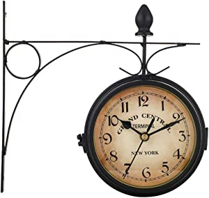ALLOMN Garden Clocks Outdoor European Style Vintage Waterproof Double Sided Wall Clock Anti Fog HD Glass Retro Stand Clock with Mute Chip for Indoor Hanging Decor Festival Gift