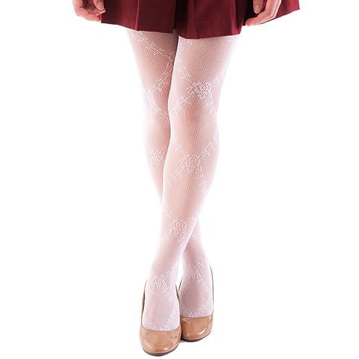 b1c2e6d78f6 FUN fun Lace fishnet tights(Rose pattern) for Girls  Sakura color 57-