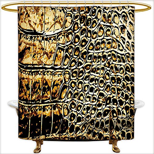 - Qinyan-Home Decor Shower Curtains Abstract Art Style Leather Background with Golden Effect Pattern Print for Brown and Black. Shower Curtain Bathroom,Water-Repellent. W69 x H70 Inch