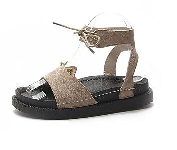 KUKI Mocasines de mujer de fondo plano y zapatos romanos de suela gruesa con cordones zapatos casuales: Amazon.es: Deportes y aire libre