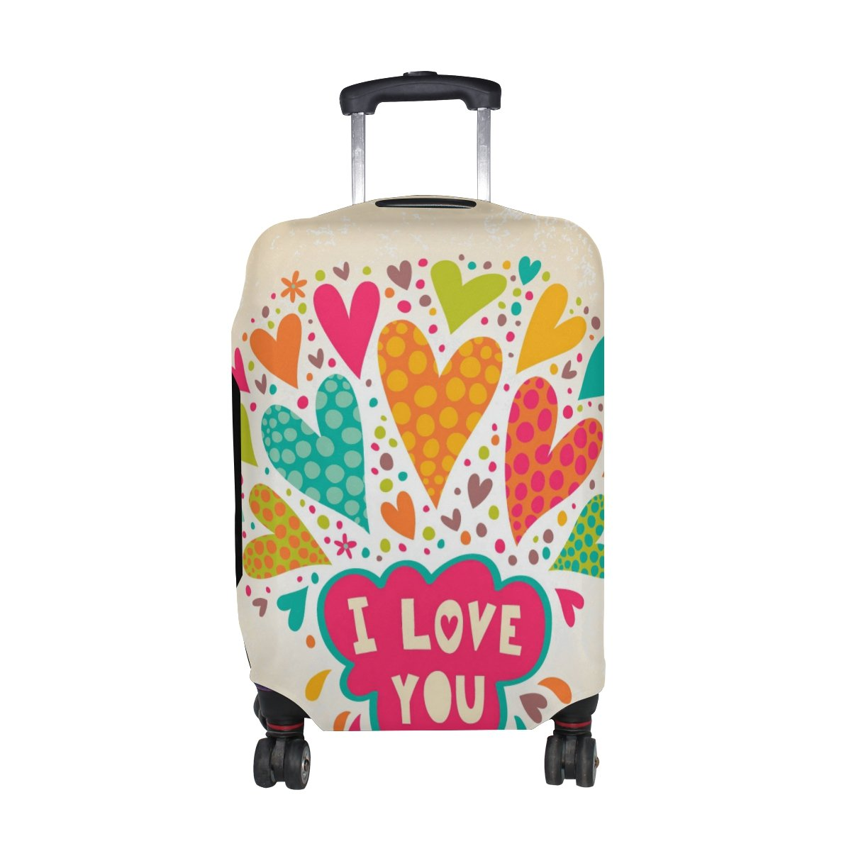 U LIFE Colorful I Love You Luggage Suitcase Cover Protector for Kids Men Women