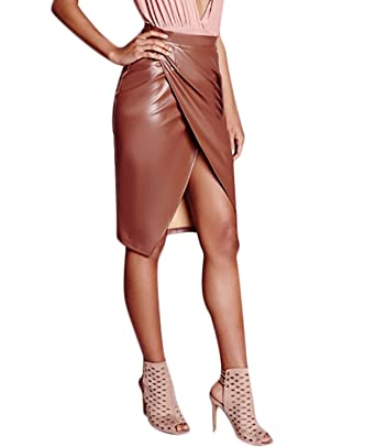 9a564550f1 Women's Slit Front OL PU Leather Pencil Knee Length Midi Pencil Skirt Small  Coffee