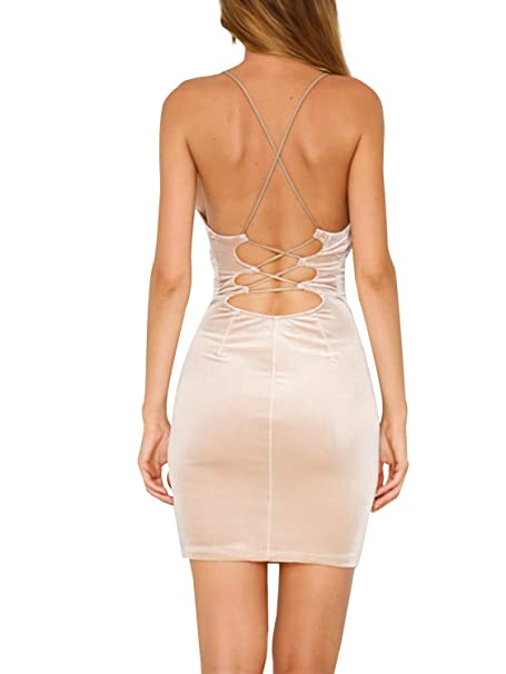 0cccc13f84d32 Simplee Womens Lace up Bodycon Sleeveless Backless Velvet Sexy Short Club  Dress