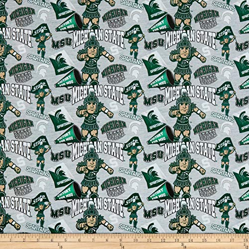 Sykel Enterprises NCAA Cotton Broadcloth Michigan State Collegiate Mascot Fabric, Team Color, Fabric By The Yard