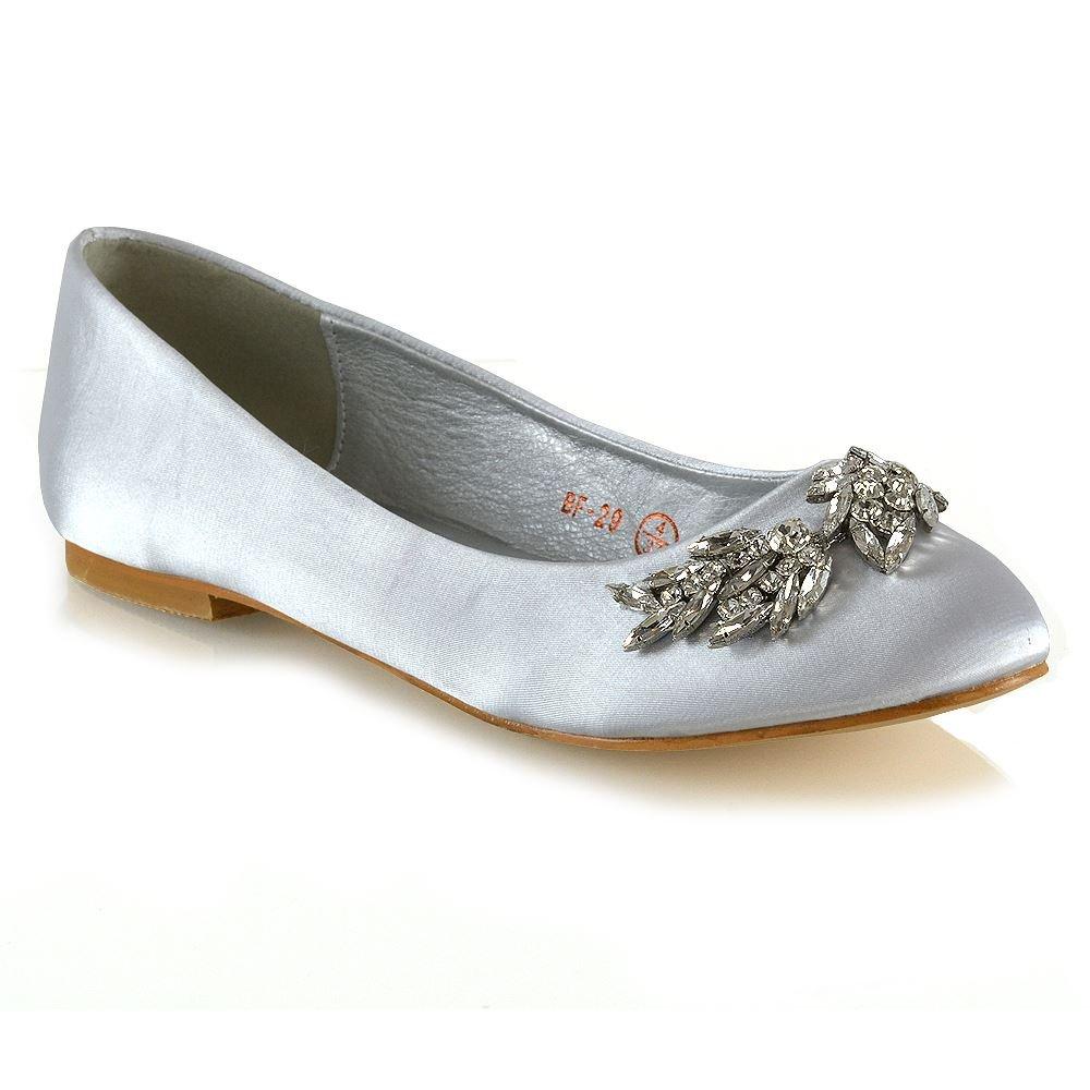 ESSEX GLAM Womens Ballet Flats Ladies Silver Satin Slip On Diamante Brooch Pumps Shoes 8 B(M) US