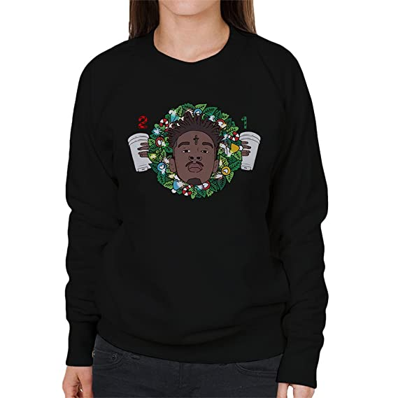 21 Savage Christmas.21 Savage Christmas Wreath Women S Sweatshirt Amazon Co Uk Clothing