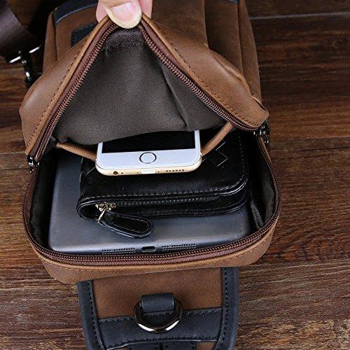 hongrun Sacs pour hommes sport multi-fonction pack poitrine un Forfait Loisirs sac Sac en cuir Crazy Horse version coréenne de la tendance des petits emballages