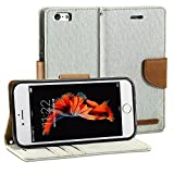 iPhone 6 Case, GMYLE Fabric Wallet Case Classic for iPhone 6s - Silver Grey & Deer Brown PU Leather Stand Case Cover