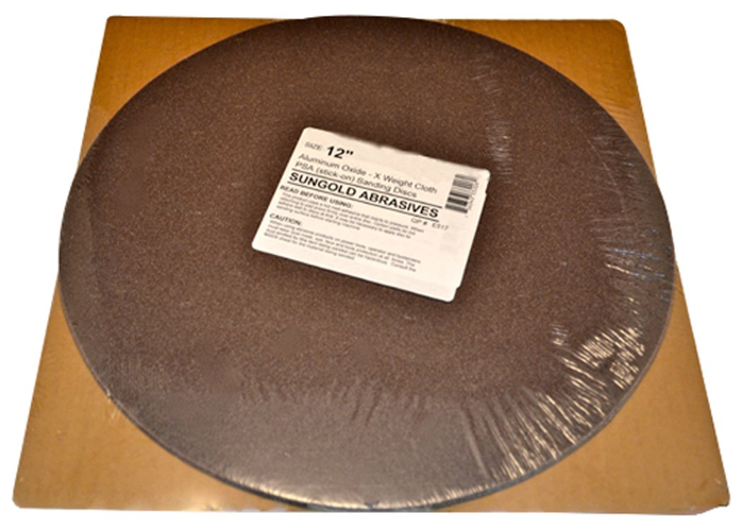 Sungold Abrasives 332055 60 Grit PSA Stick-On Sanding Discs for Stationary Sanders X-Weight Cloth Premium Industrial Aluminum Oxide (3 Pack), 12''