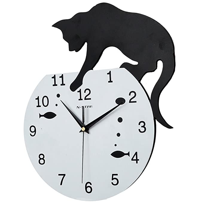 Amazon.com: GZD Cartoon Style Wall Clock, Postmodern Cat And Fish Tank Modeling Acrylic Wall Clock Living Room Mute Wall Clock With Wallpaper,Black,2935Cm ...