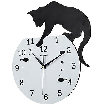 GZD Reloj De Pared De Estilo De Dibujos Animados, Gato Posmoderno Y Pecera Reloj De Pared ...