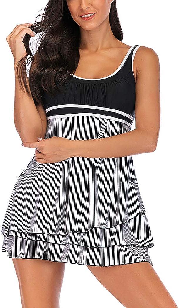 AOQUSSQOA Damen Bauchweg Tankini Gro/ße Gr/ö/ße Badeanzug mit Shorts Black Streifen Push up Bademode Figurformend Schwangerschaft Badekleid