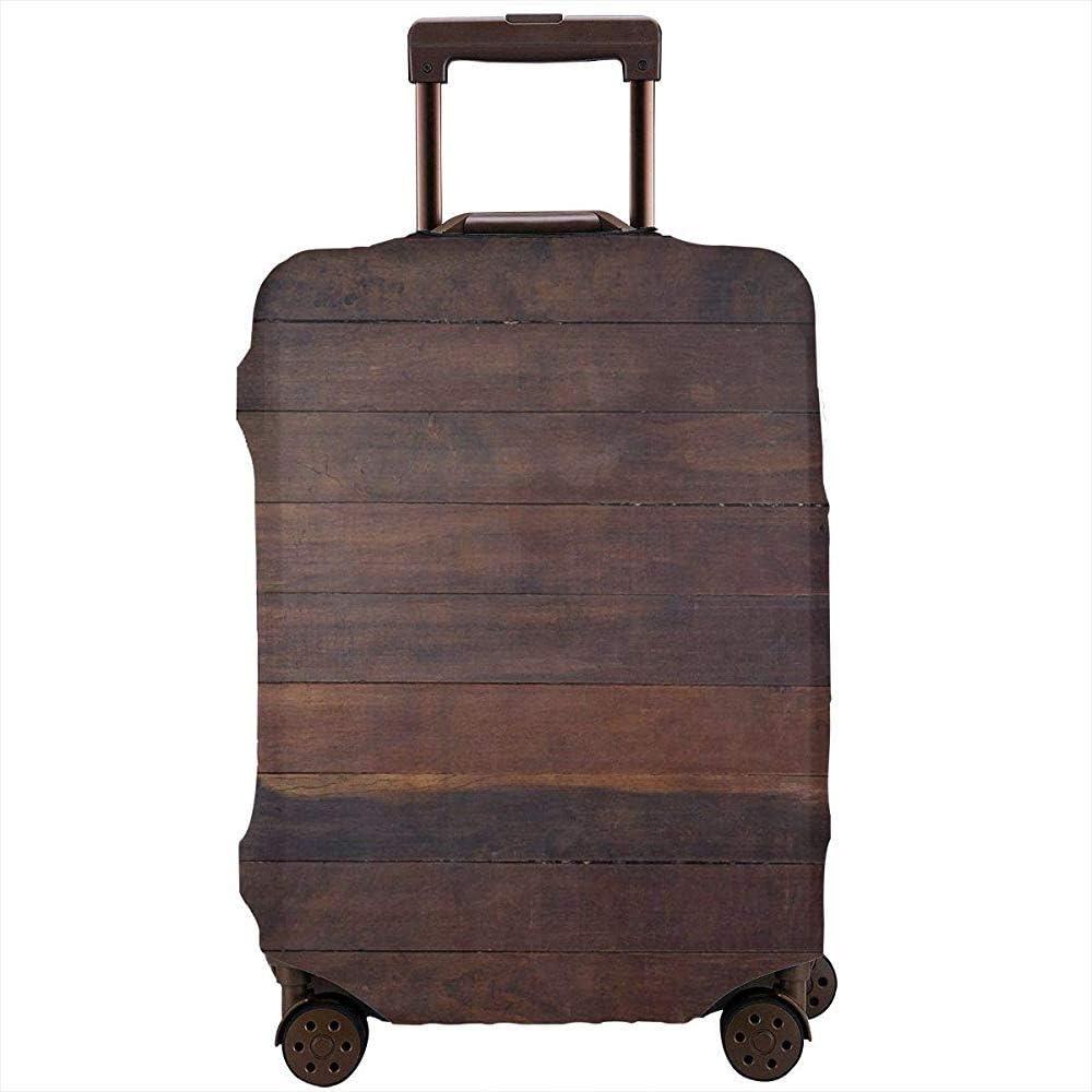 Funda de Equipaje de Viaje Envejecido Resistido Madera Oscura Roble Tablones de Madera Piso Country Life Carpintería Maleta Protector Tamaño L