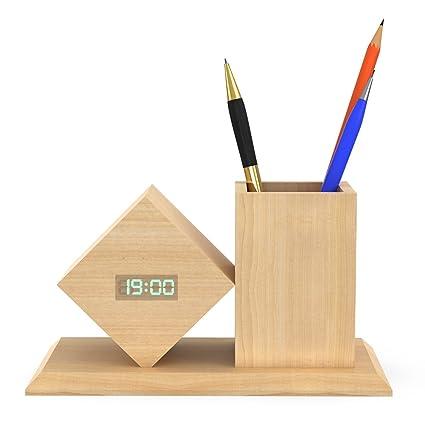 Haofy Despertadores de Madera Electrónicos LED Reloj Digital Despertador Titular de la Pluma LCD Pantalla Temperatura