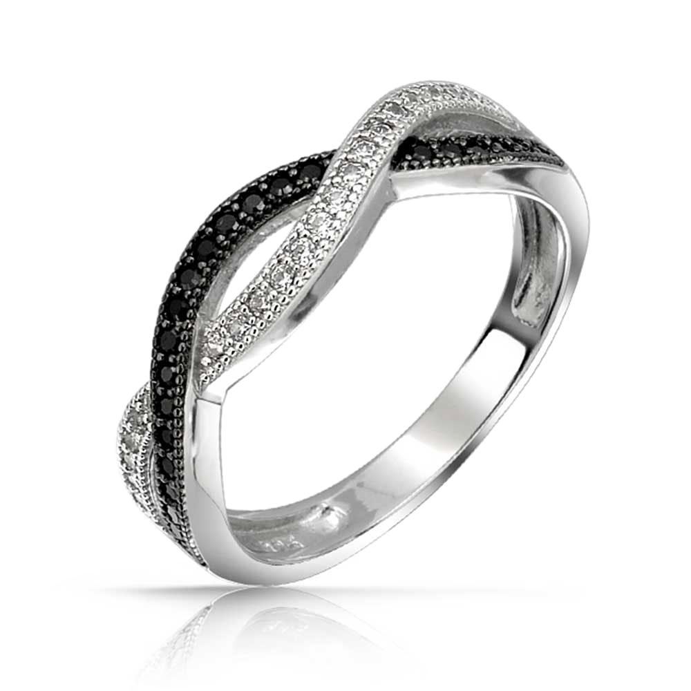 Bling Jewelry Simulated Onyx CZ Pave Twist Sterling Silver Infinity Ring BYJ-GR0200BW
