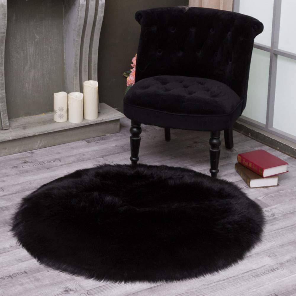 Flaumige Kunstfell Teppich Runde 5-6cm Waschbar Faux Hochwertige Wolle Matte Für Stuhl Sofa Überwurf,schwarz-240cm 94.4