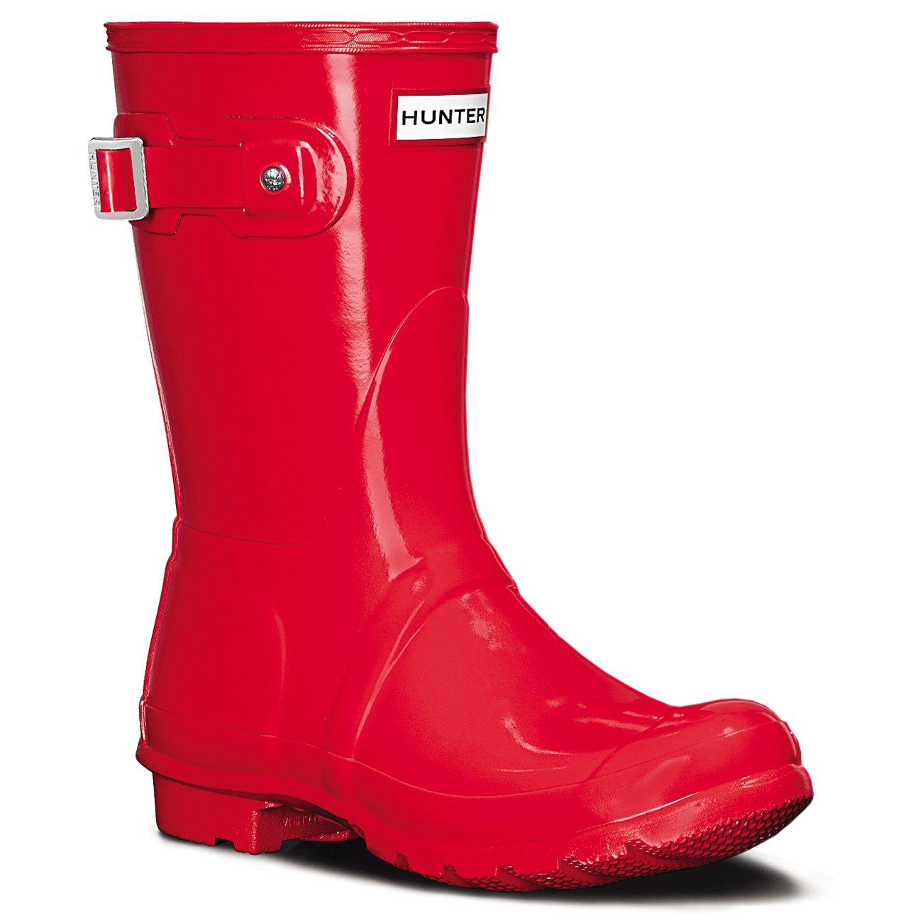Hunter Womens Original Short Gloss Wellingtons Snow Winter Rain Boots - Bright Coral - 8