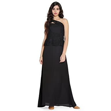 d7878b4d3a Eavan Women's Black One Shoulder Maxi Dress: Amazon.in: Clothing &  Accessories