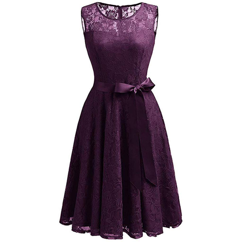 Women's Dresses Vintage Lace Country Retro Skirt Rockabilly Elegant Cocktail Swing Dress Purple