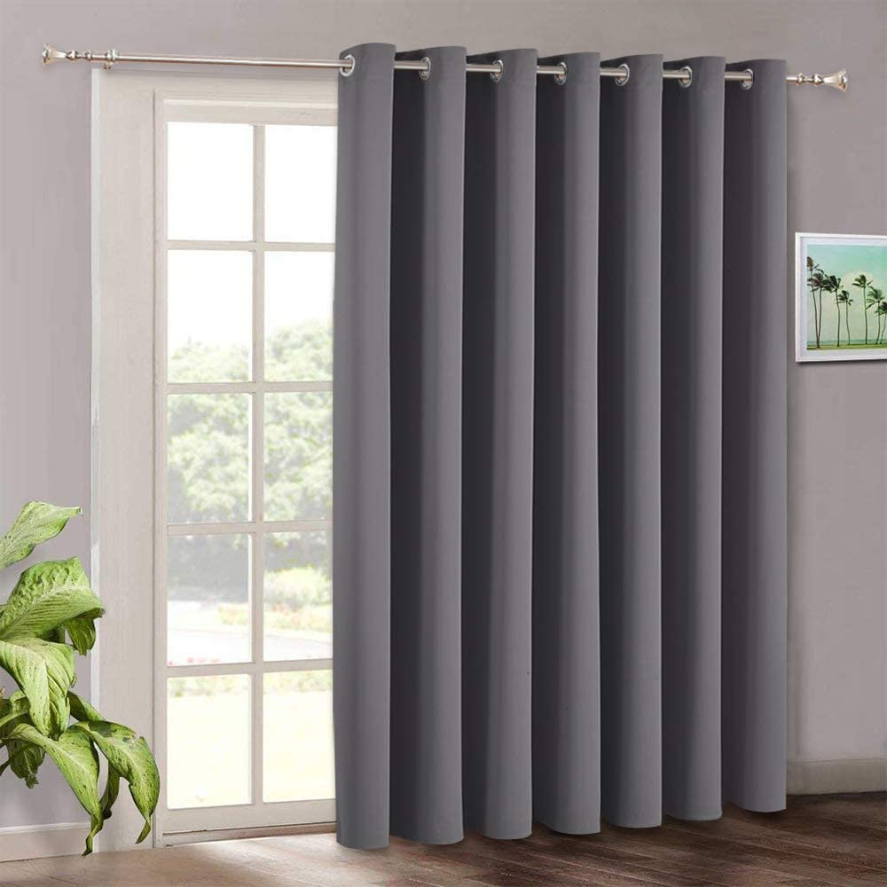 Blackout Patio Door Curtains Bedroom Home Decor Grommet Curtain Thermal Insulated Vertical Blind Window Treatment Drapes For Living Room Sliding Glass Door Wide 100 X Long 84 Inch Grey Furniture
