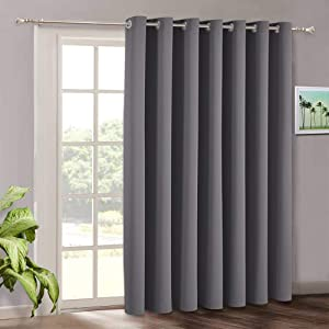 RYB HOME Blackout Curtains for Bedroom - Gray Curtains Grommet Divider Panel for Sunlight Block Privacy Thermal Insulated Room Decor for Patio Door Sitting Area, 100 Wide x 108 inches Long, Grey