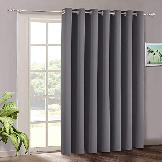 Amazon Com Blackout Patio Door Curtains Bedroom Home Decor Grommet Curtain Thermal Insulated Vertical Blind Window Treatment Drapes For Living Room Sliding Glass Door Wide 100 X Long 84 Inch Grey Furniture