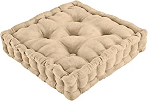 Tufted Padded Boosted Cushion and Support - Plush Seating for Chair with Carrying Handle, Natural 15 3/4