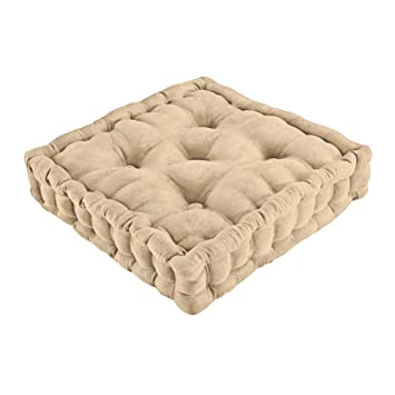 Collections Etc Tufted Padded Boosted Cushion and Support - Plush Seating for Chair with Carrying Handle, Natural