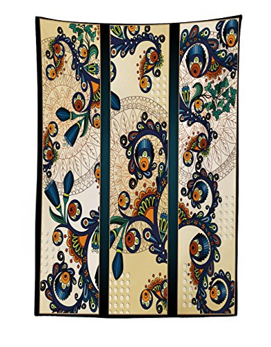 Lunarable Abstract Tapestry, Paisley Batik Floral Design Ethnic African Hand Drawn Ornament Artwork, Fabric Wall Hanging Decor for Bedroom Living Room Dorm, 30 W X 45 L inches, Navy Blue Orange Green