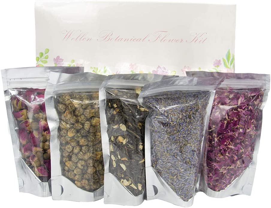 Wellcn Botanical Flowers Kit -French Lavender, Jasmine green tea, Premium Chrysanthemum, Rose Buds & Petals,Great for daily drink and Many Craft Projects-100% Natural No Additives