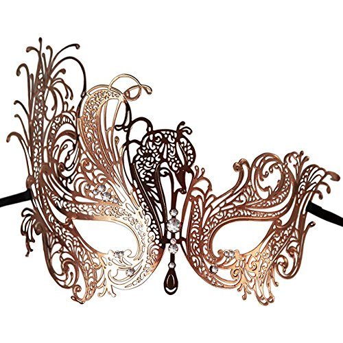 ACTLATI Prom Party Fancy Dress Ball Laser Cut Metal Filigree Venetian Masquerade Masked Ball With Rhinestones Face Mask Rose Gold