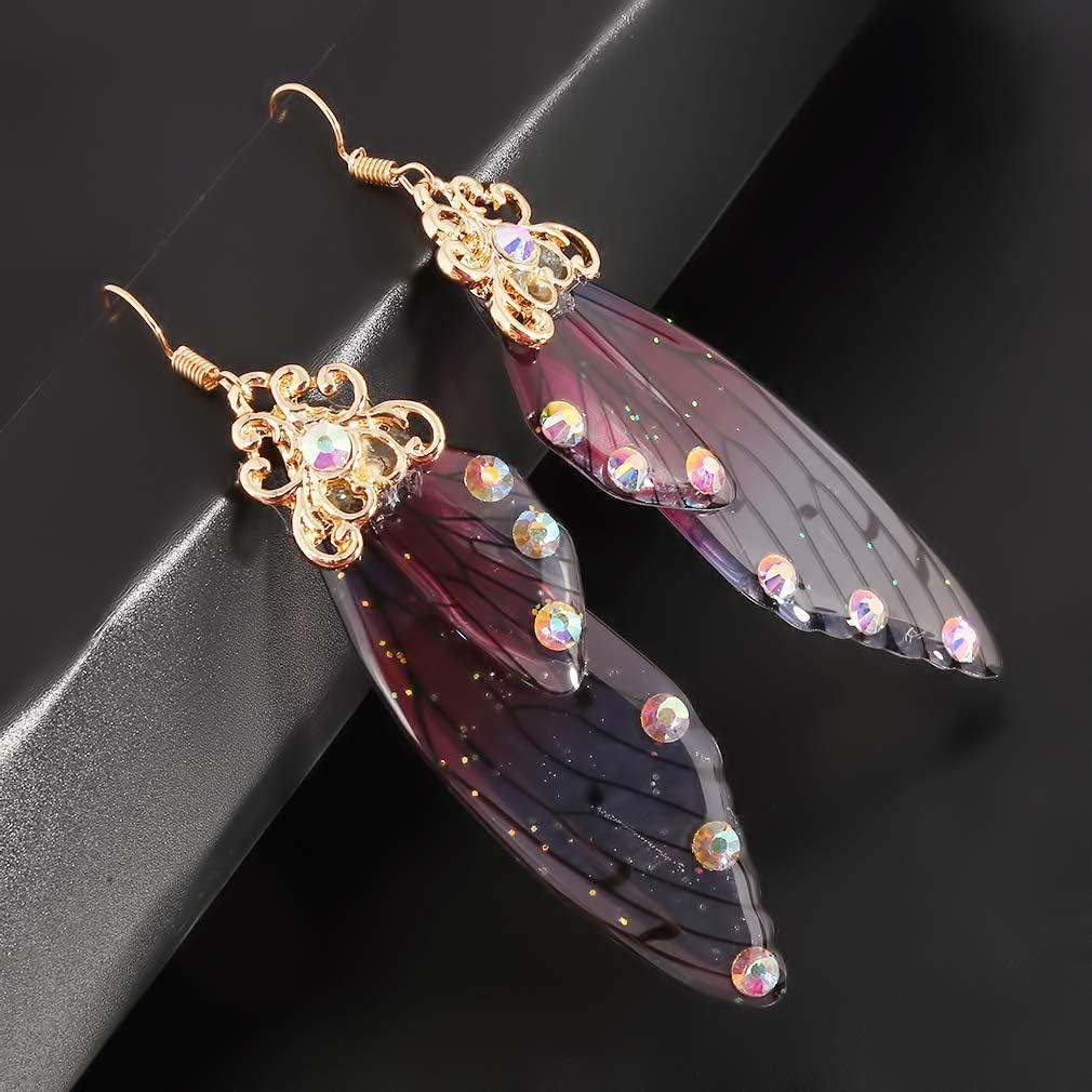 Fae Dragon Festival Boho Crystals Butterfly Faery Wings Earrings Ready to Ship