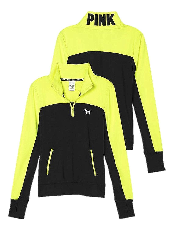 Victorias Secret Ultimate Half Zip Pullover Black Neon Lemon Top